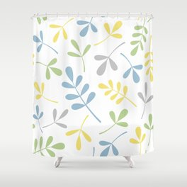 Assorted Leaf Silhouettes Blue Green Grey Yellow White Shower Curtain