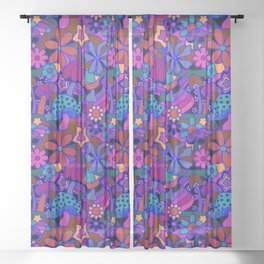 70's Psychedelic Garden in Cool Jeweltone Sheer Curtain