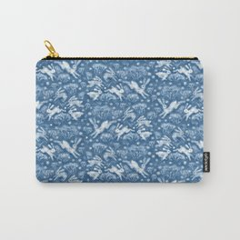 Hares Field, Winter Rabbits Bunnies Pattern Wool Texture Wedgewood Blue Carry-All Pouch