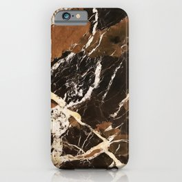 Sienna Brown and Black Marble With Creamy Veins iPhone Case
