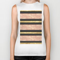 Simple rose gold stripes pattern Biker Tank