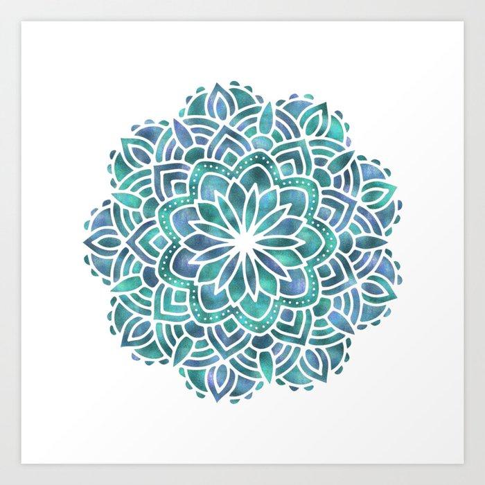 Mandala Succulent Blue Green Art Print