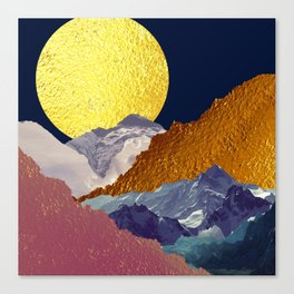 Mountains Under a Golden Moon Canvas Print