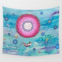 fairies Wall Tapestries featuring Hot Air Balloon , Sleeping Girl and Fairies by Sukilopi