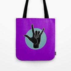 ILY - I Love You - Sign Language - Black on Green Blue 05 Tote Bag