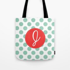 Monogram Initial J Polka Dot Tote Bag