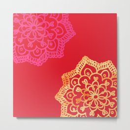 Happy bright lace flower - red Metal Print