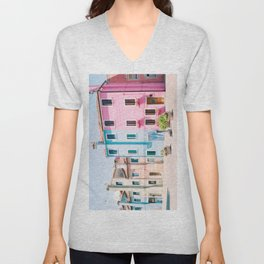 Colorful houses in Burano Unisex V-Neck