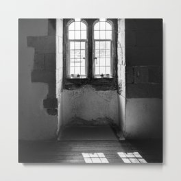 Shadow of Old Window   Castle Tower of London   Black & White   Travel Photography   Fine Art Photo Metal Print