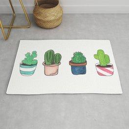 1 Cactus, 2 Cacti, 3 Cacti Four- Watercolor Design Rug