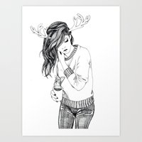 antlers Art Prints featuring Antlers by Margret Stewart