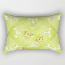 The Queen butterfly and gold butterflies in vibrant green Rectangular Pillow