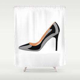 Classic High Heel Shoe in Black Shower Curtain