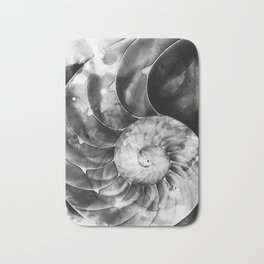 Black And White Nautilus Shell By Sharon Cummings Bath Mat