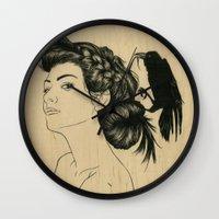 helen green Wall Clocks featuring Helen by Emmy Wong