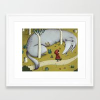 red riding hood Framed Art Prints featuring Little red riding hood by Laura Wood