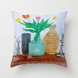 Tulips and Parrot Throw Pillow