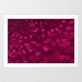 Valentine's Day | Romantic Crimson Galaxy | Universe of pink purple hearts Art Print