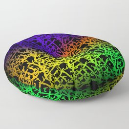 Fluttering pattern of neon squiggles and blue ropes on a black background. Floor Pillow