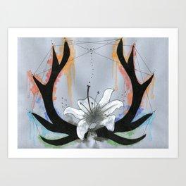 Blooming Antlers Art Print