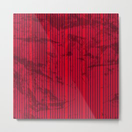 Grunge Blue stripes on bold red background Metal Print