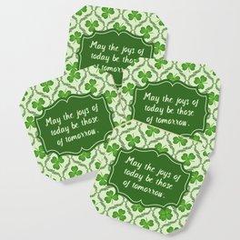 Irish Blessing Shamrocks Pattern Coaster