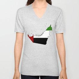 United Arab Emirates UAE Map with Flag Unisex V-Neck
