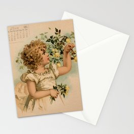 Little girl picking yellow roses Maud Humphrey Stationery Cards