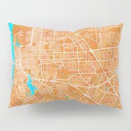 Baton Rouge, LA, USA, Gold, Blue, City, Map Pillow Sham