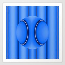 Blue Ball on Stripes Art Print