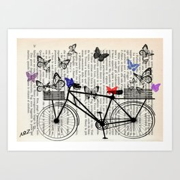 Bicycle and butterflies Art Print
