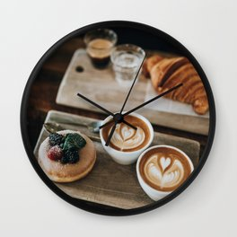 Latte + Pastries Wall Clock