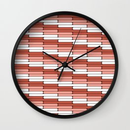 Staggered Oblong Rounded Lines Pantone Living Coral Illustration Wall Clock