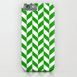 Herringbone Texture (Green & White) iPhone Case