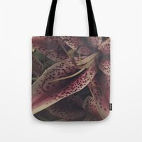 lily Tote Bags featuring lily by inourgardentoo