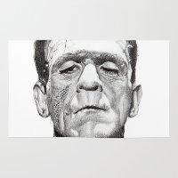 frankenstein Area & Throw Rugs featuring Frankenstein by calibos