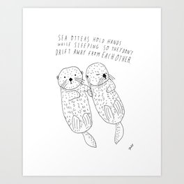 Sea Otters Holding Hands Art Print