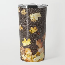 Gold yellow maple leaves autumn asphalt road Travel Mug