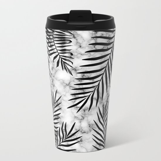 Black palm leaves on marble Metal Travel Mug