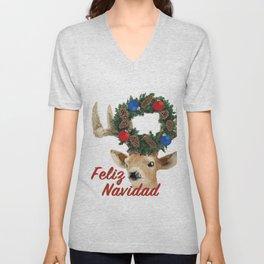 Feliz Navidad Spanish Merry Christmas Unisex V-Neck