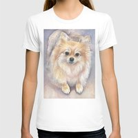 pomeranian T-shirts featuring Pomeranian Watercolor Pom Painting by Olechka