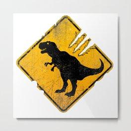 T-Rex Crossing Sign Metal Print