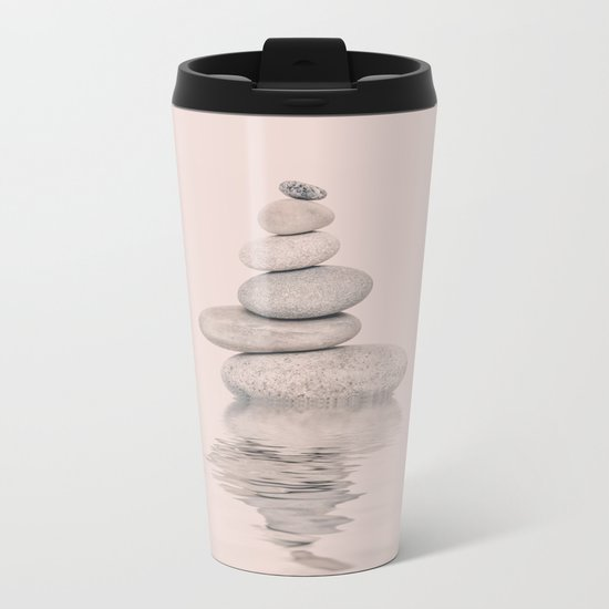 Balanced Harmony Zen Pebble soft pink Metal Travel Mug