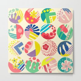 Abstract circle fun pattern Metal Print