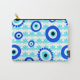 Evil Eye Symbol Blue White Pattern Carry-All Pouch