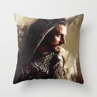thorin Throw Pillows featuring Thorin by Wisesnail