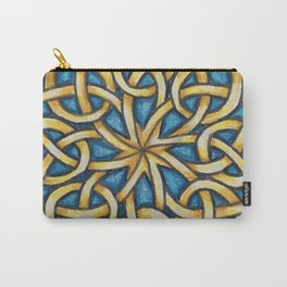 Blue and Gold Celtic Knot Carry-All Pouch