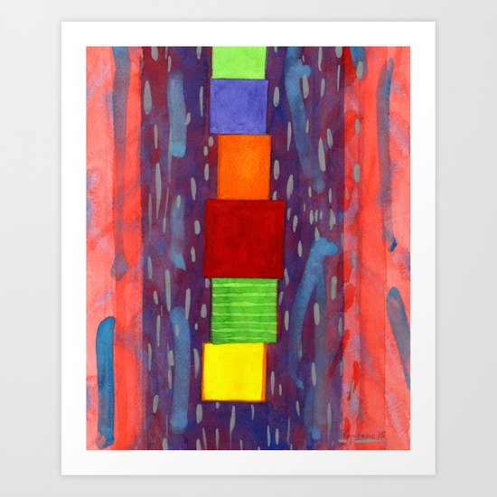 Colorful piled Cubes within free Painting Art Print