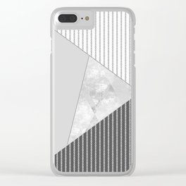 Valencia 4. Abstract grey, white geometric pattern. Clear iPhone Case