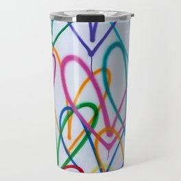 Multicoloured Love Hearts Graffiti Repeat Pattern Travel Mug